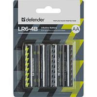 Элемент питания Defender LR6 AA Alkaline LR6-4B 4штуки в блистере