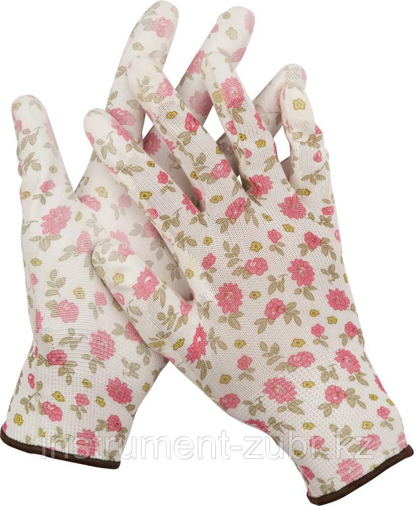 Перчатки GRINDA садовые, прозрачное PU покрытие, 13 класс вязки, бело-розовые, размер M