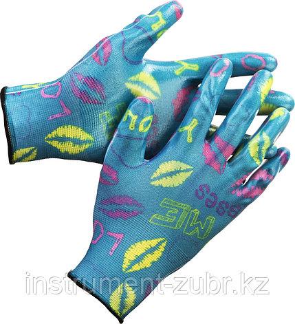 Перчатки GRINDA садовые, прозрачное нитриловое покрытие, размер S-M, синие, фото 2