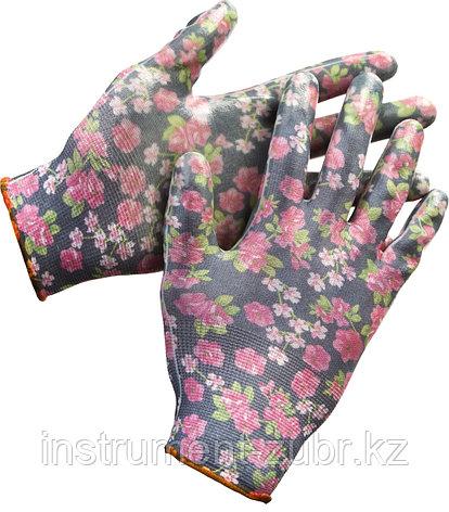 Перчатки GRINDA садовые, прозрачное нитриловое покрытие, размер L-XL, черные, фото 2
