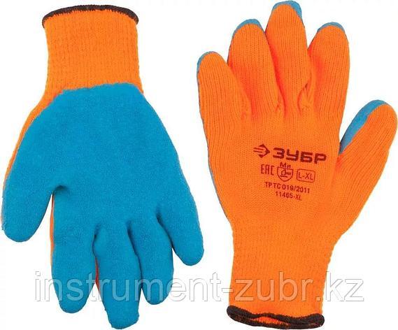 Перчатки утепленные Урал, акриловые, с рельефным латексным покрытием, 10 класс, сигнальный цвет, S-M, ЗУБР Профессионал 11465-S, фото 2