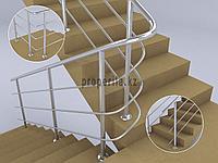 Перила для лестниц из нержавейки (3 ригеля) тип 2