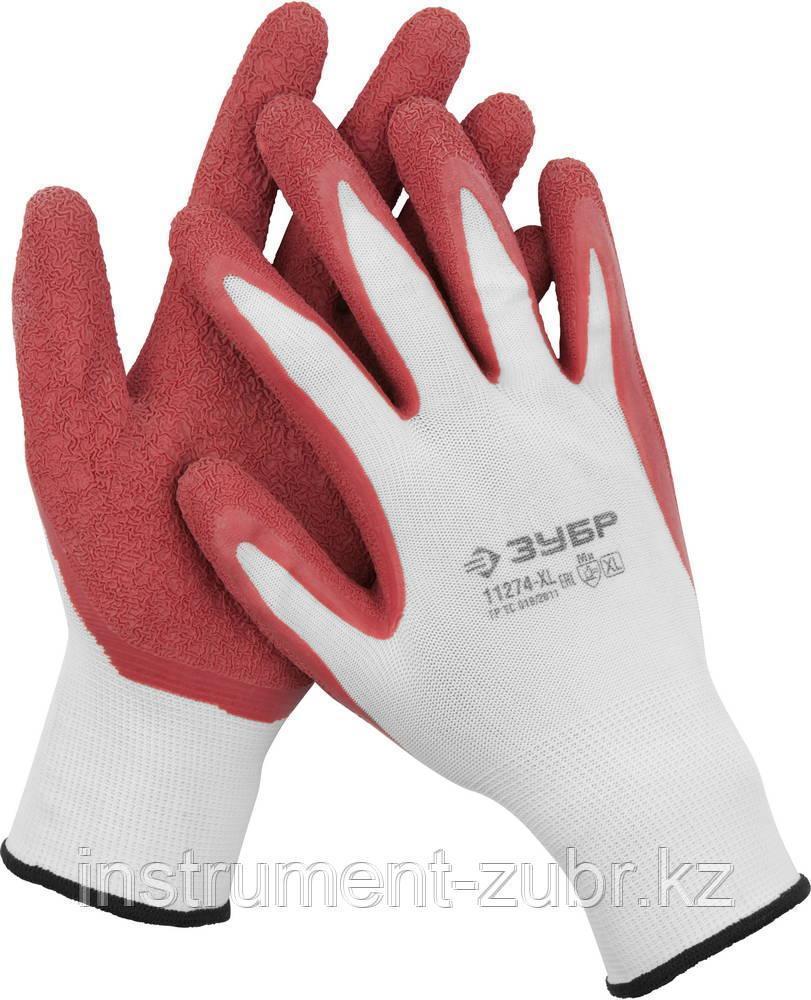 """Перчатки ЗУБР """"МАСТЕР"""" трикотажные, с рельефным латексным покрытием, размер M (8)"""