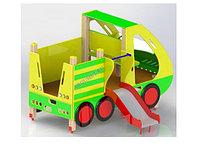 Машинка детская с горкой, с турником, с навесом, с сидениями