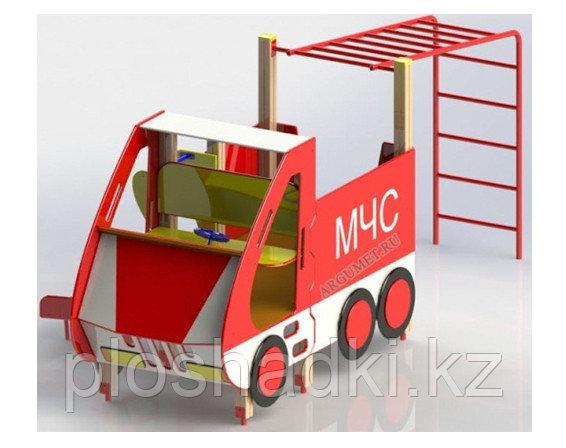 Машинка мчс детская, с шцедской стенкой, рукоходом, с сидениями, красная