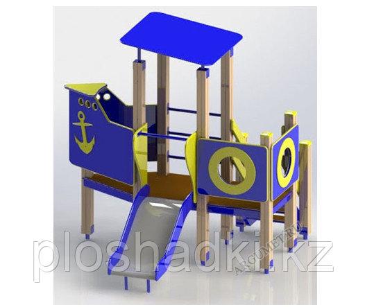 Игровой макет, детский кораблик, с горкой, турником, лестницей, навесом