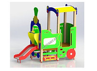 Игровой макет, детский паровоз, с горкой, навесом, турником