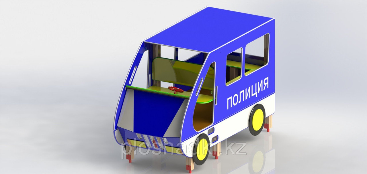 Игровой макет, машинка детская полиция, с сидениями и рулем, металл