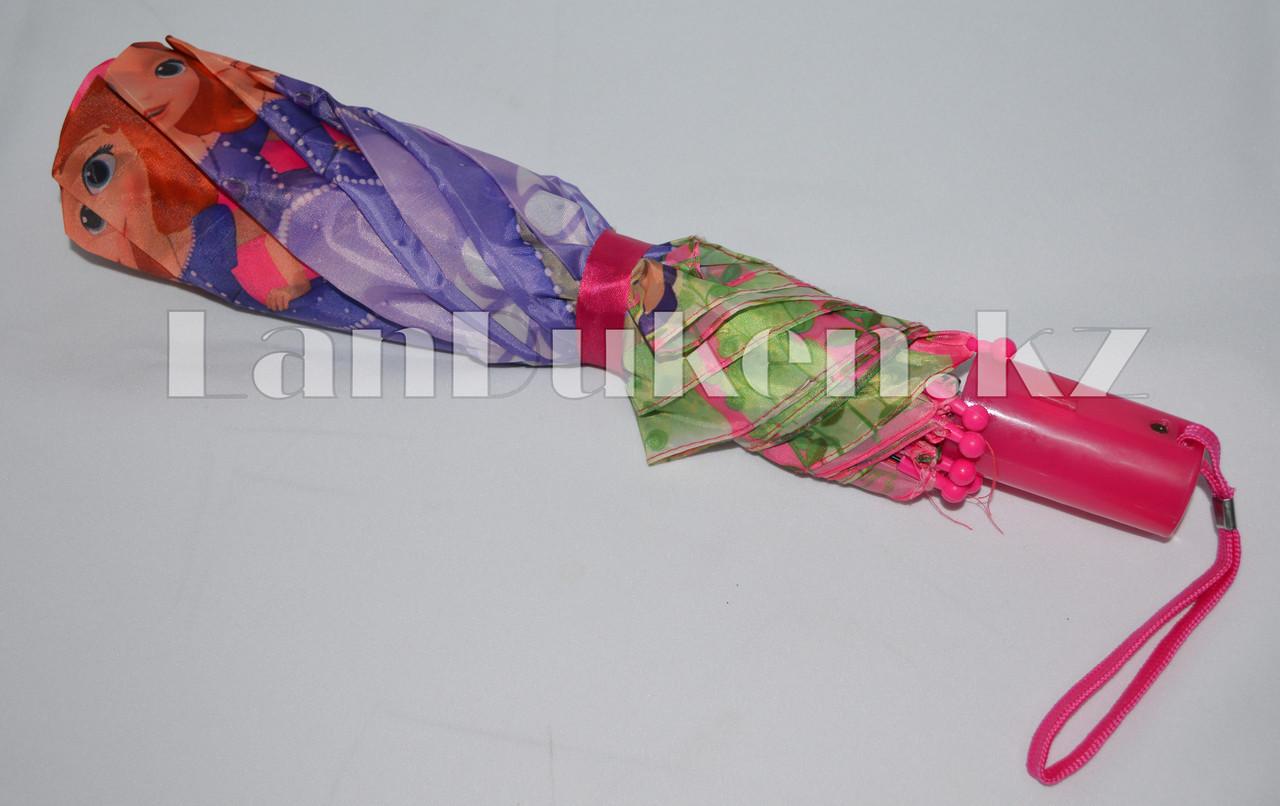 """Детский складной зонтик """"Принцесса София"""" (розовый) - фото 4"""
