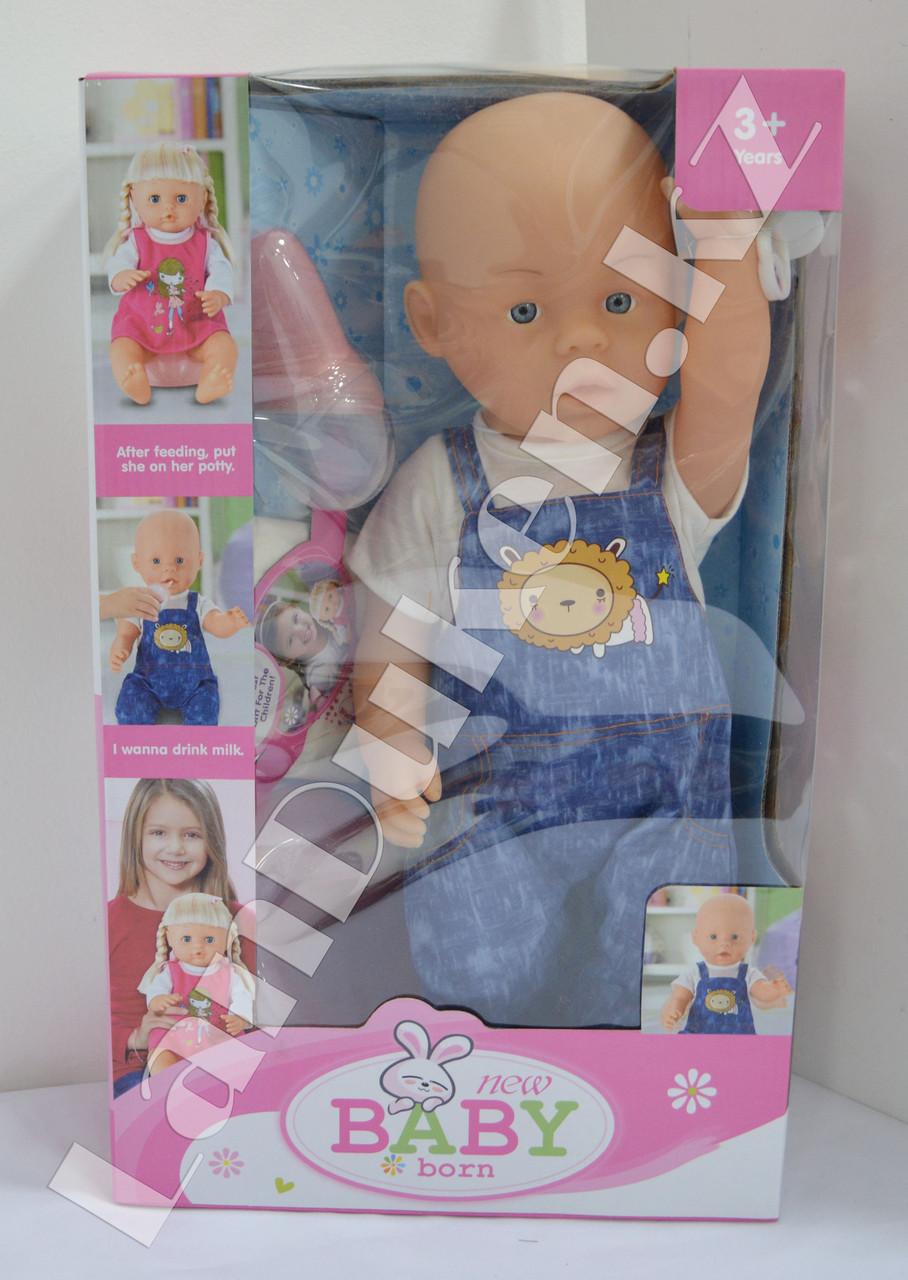 Детская кукла мальчик New Baby Born с аксессуарами - фото 2