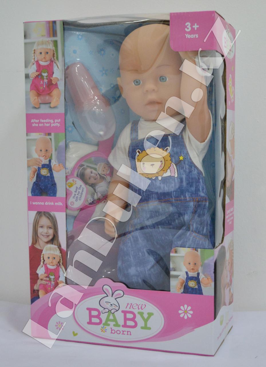 Детская кукла мальчик New Baby Born с аксессуарами - фото 3