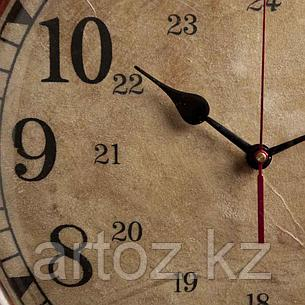 Настенные часы в тёмной коже  Wall Clock With Dark Leather, фото 2