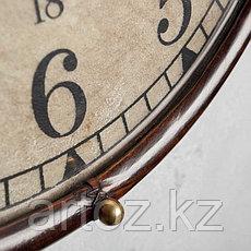Настенные часы в тёмной коже  Wall Clock With Dark Leather, фото 3