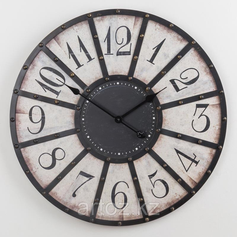 Чёрно-белые металлические настенные часы  Black And White Metal Clock