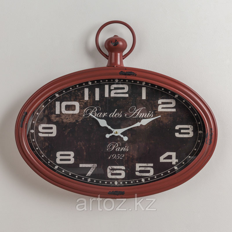 Красные овальные настенные часы Бар Дез Ами  Oval Red Clock Bar-Des Amis