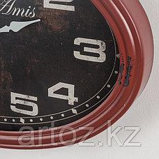 Красные овальные настенные часы Бар Дез Ами  Oval Red Clock Bar-Des Amis, фото 3