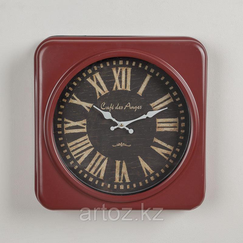 Красные квадратные часы Кафе Дез Анж  Red Metal Squares Clock Cafe Des Anges