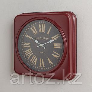 Красные квадратные часы Кафе Дез Анж  Red Metal Squares Clock Cafe Des Anges, фото 2
