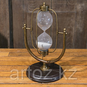 Песочные часы на 15 минут из кожи и меди Sandtimer 15 Min Copper And Leather, фото 2