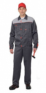 Костюм рабочий летний «Фаворит» (куртка, п/комбинезон тёмно-серый с серым)