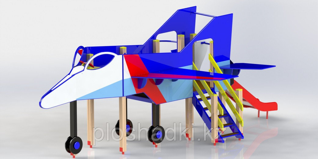 Самолетик детский, с горкой, лестницей, сидениями