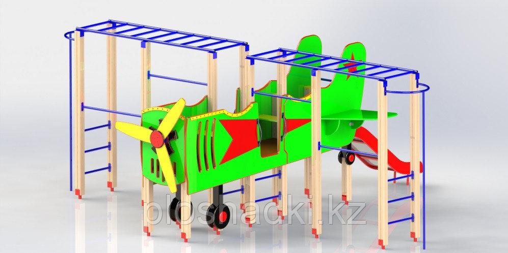 Игровой макет, самолет детский, с горкой, рукоходами, сидениями, с турниками