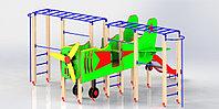 Игровой макет, самолет детский, с горкой, рукоходами, сидениями, с турниками, фото 1
