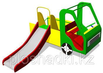 Дворовые изделия, машинка детская, с горкой, рулём и сидениями