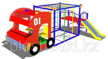 Дворовые изделия, машинка для игры, с горкой, сидениями, сеткой лазалкой