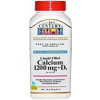 21st Century, Жидкий кальций (в 2 капсулах 1200 мг кальция120% + витамин D3 100% -400 ME), 90 гелевых капсул.