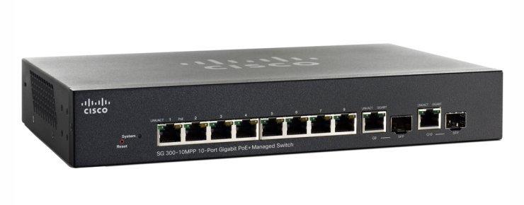 SG300-10MPP 10-port Gigabit Max PoE+ Managed Switch