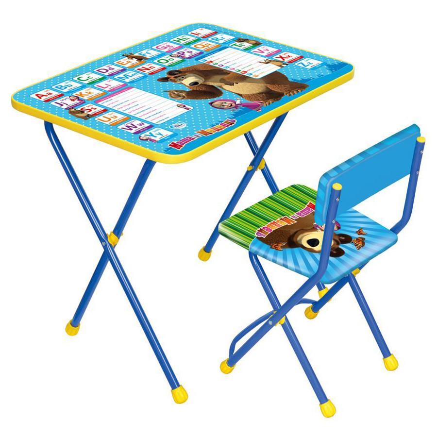 НИКА Набор мебели МАША И МЕДВЕДЬ (стол +мягкий моющийся стул) Английская азбука