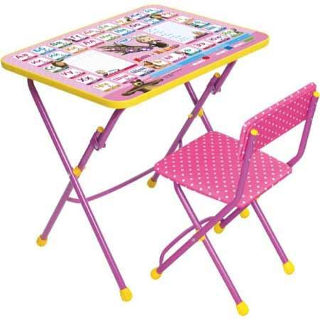 НИКА Набор мебели МАША И МЕДВЕДЬ (стол-парта +мяг стул)  Азбука3