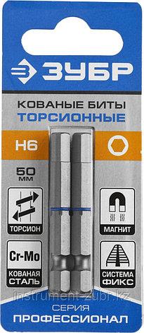 """Биты ЗУБР """"ПРОФЕССИОНАЛ"""" торсионные кованые, обточенные, хромомолибденовая сталь, HEX6, 2шт, фото 2"""