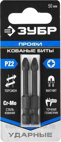 "Биты ЗУБР ""ПРОФИ"" Pozidrive, тип хвостовика E 1/4"", PZ2, 50мм, 2шт, на карточке                                                                       , фото 2"