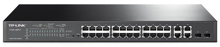 Коммутатор PoE+ Smart 24-портовый Tp-Link T1500-28PCT (TL-SL2428P) 24 порта 10/100 PoE+ 802.3at/af (max 30W на