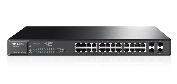 Коммутатор PoE+ Smart GbE 24-портовый Tp-Link T1600G-28PS (TL-SG2424P)  JetStream™ 24GE PoE+, 4 SFP, 802.3at/a