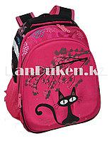 Рюкзак с ортопедической сетчатой спинкой Кошки розовый