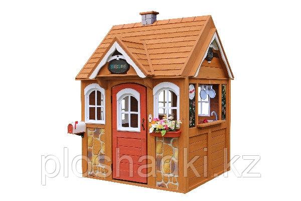 Деревянный домик «Джорджия-2», с крышей, меловой доской, игровой посудой, дверью