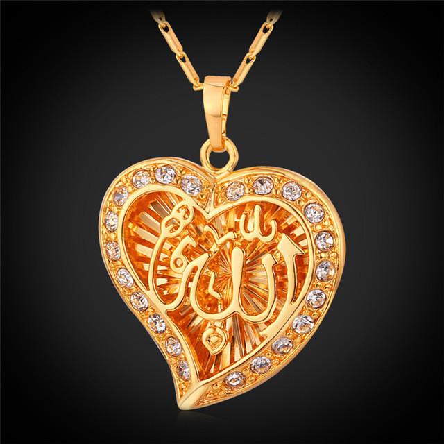Ожерелье  Женские  Арабские  Мусульманские Сердце Аллах