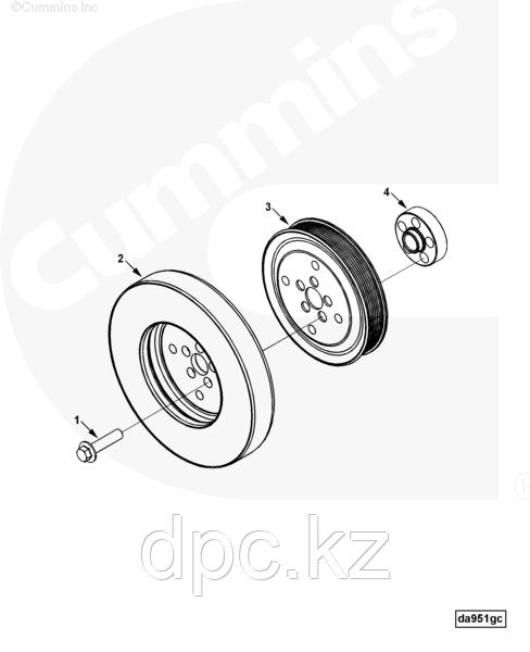 Болт шкива-демпфера коленвала (М14x1.5x60) Cummins ISLe 3914118