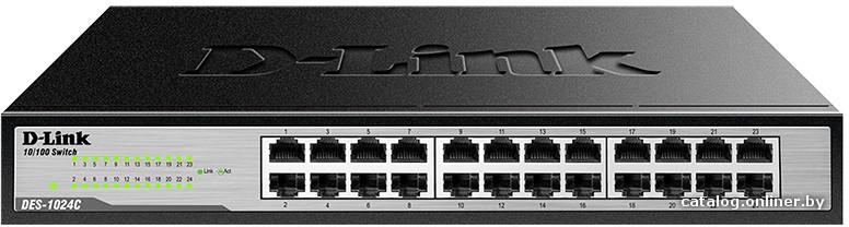D-LinkКоммутаторDES-1024C/A1A Неуправляемый коммутатор с 24 портами 10/100Base-TX, функцией энергосбережения и поддержкой QoS