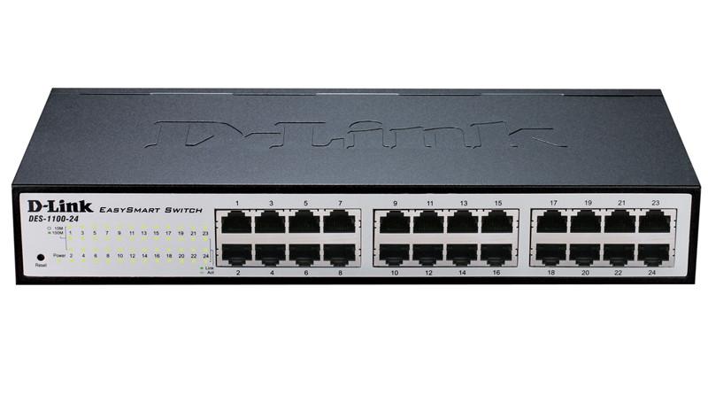 """Коммутатор D-Link DES-1100-24/A2A Настраиваемый EasySmart с 24 портами 10/100Base-TX Корпус шириной 11"""", высота 1U"""