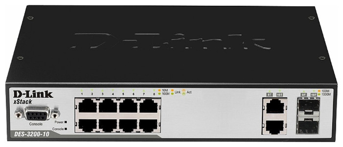 DES-3200-10/C1A коммутатор 10-Port 10/100Mbps + 2 Combo 1000BASE-T/SFP L2 Management Switch