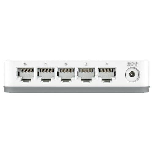 Неуправляемый коммутатор D-Link с 5 портами 10/100/1000Base-T, функцией энергосбережения и поддержкой QoS