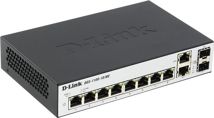 Коммутатор D-Link Настраиваемый  2 уровня с 8 портами 10/100/1000Base-T и 2 комбо-портами 100/1000Base-T/SFP