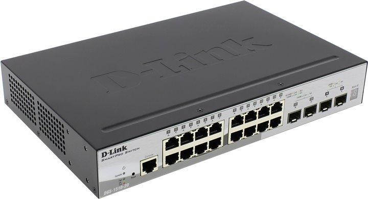 Коммутатор, D-Link, DGS-1510-20/A1A, 19 дюймовый стоечный, 16 портов 10/100/1000М + 2 порта 1000Base-X SFP + 2 порта 10GBase-X SFP+, Управляемый,