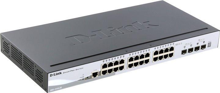 D-LinkКоммутаторDGS-1510-28/A1AУправляемый стекируемый коммутатор SmartPro с 24 портами 10/100/1000Base-T, 2