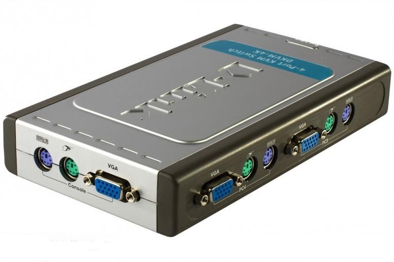 4-х портовый переключатель D-Link KVM с портами PS/2 и VGA, предназначенный для управления 4 компьютерами