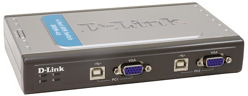 4-х портовый переключатель D-Link KVM с портами USB и VGA, предназначенный для управления 4 компьютерами,